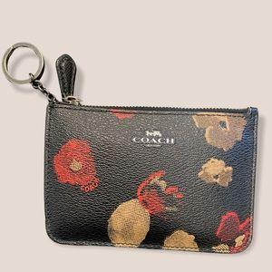 Coach black floral zip top key ring change purse